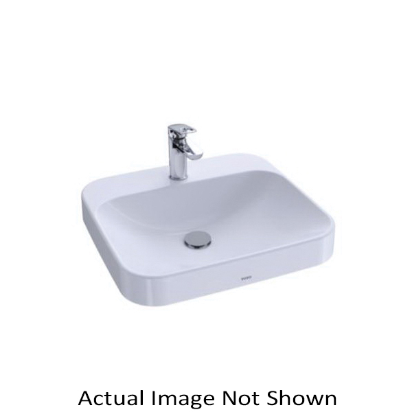 Toto® LT415.4G#01 Arvina™ Vessel Lavatory With Front Overflow, Rectangular, 4 in Faucet Hole Spacing, 19-11/16 in W x 18-1/8 in D, Vitreous China, Cotton