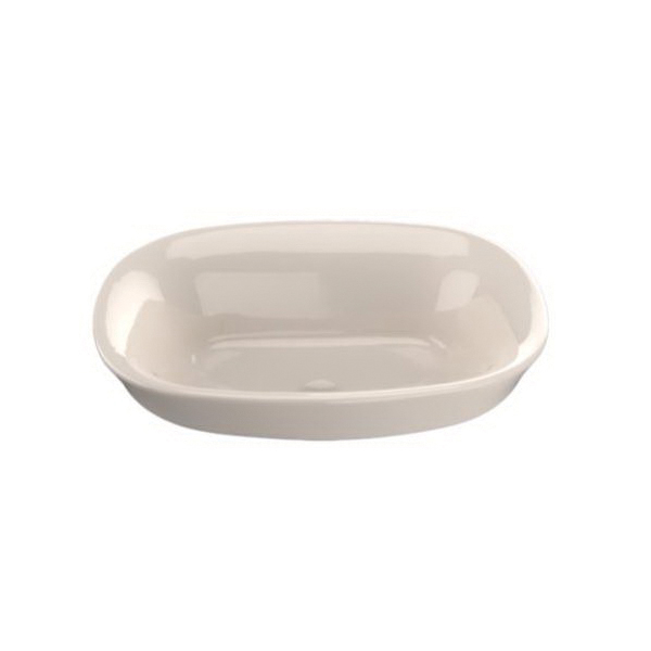 Toto® LT480G#03 Maris™ Vessel Lavatory With Rear Overflow, Oval, 19-1/2 in W x 15-5/32 in D x 6-7/8 in H, Semi-Recessed Mount, Vitreous China, Bone