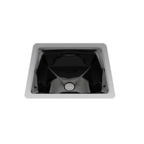 Toto® LT491#51 Connelly® Lavatory Sink With Rear Overflow, Square, 17 in W x 17 in D, Undercounter Mount, Vitreous China, Ebony, Domestic
