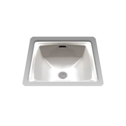 Toto® LT491G#01 Connelly® Lavatory Sink With Rear Overflow, Square, 17 in W x 17 in D, Undercounter Mount, Vitreous China, Cotton