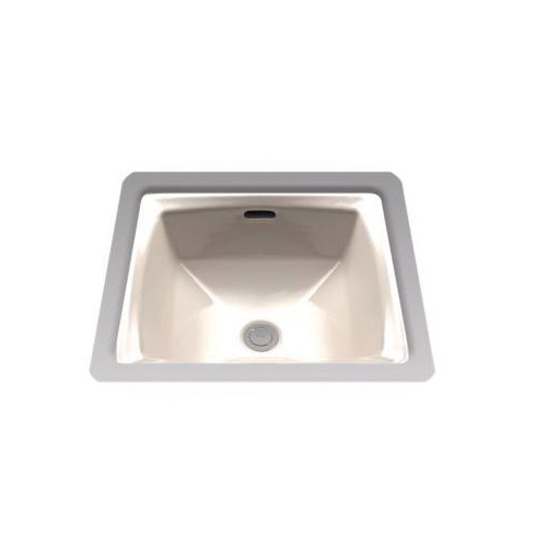 Toto® LT491G#03 Connelly® Lavatory Sink With Rear Overflow, Square, 17 in W x 17 in D, Undercounter Mount, Vitreous China, Bone