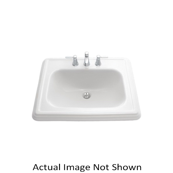 Toto® LT531.4#03 Promenade® Self-Rimming Lavatory With Consealed Front Overflow, Rectangular, 4 in Faucet Hole Spacing, 22-1/2 in W x 18-3/4 in D, Drop-In Mount, Vitreous China, Bone