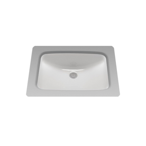 Toto® LT542G#01 Lavatory Sink With Rear Overflow, Rectangular, 20-7/8 in W x 14-3/8 in D, Undercounter Mount, Vitreous China, Cotton