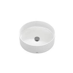 Toto® LT573#01 Arvina™ Vessel Lavatory Without Overflow, Round, 16-9/16 in W x 16-9/16 in D, Vitreous China, Cotton