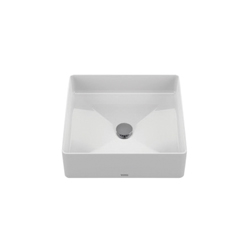 Toto® LT574#01 Arvina™ Vessel Lavatory Without Overflow, Square, 16-9/16 in W x 16-9/16 in D, Fireclay, Cotton