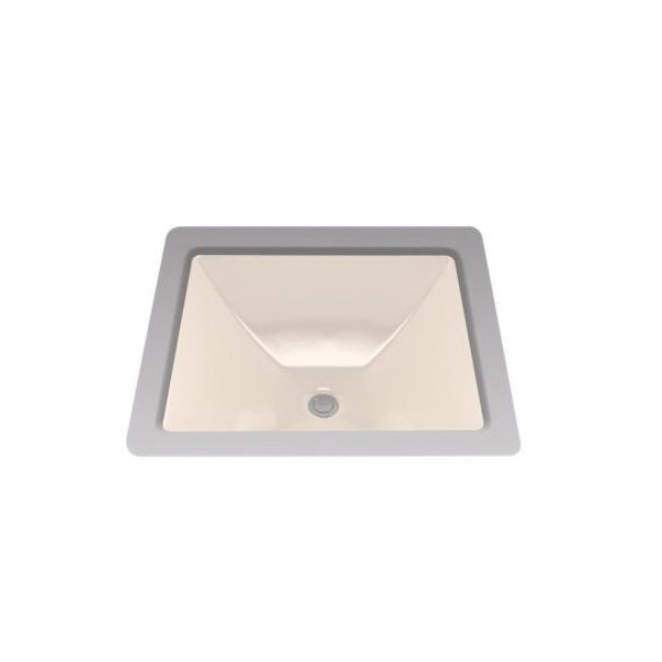 Toto® LT624G#03 Legato™ Lavatory Sink With Rear Overflow, Rectangular, 19 in W x 17 in D, Undercounter Mount, Vitreous China, Bone