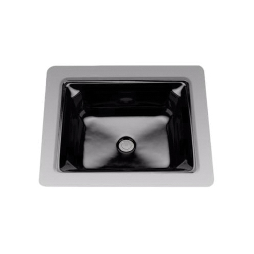 Toto® LT973#51 Guinevere™ Lavatory Sink With Consealed Rear Overflow, Rectangular, 20-13/16 in W x 18-1/16 in D, Undercounter Mount, Vitreous China, Ebony, Domestic