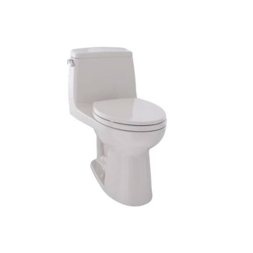 Toto® MS854114E#12 Eco UltraMax® One-Piece Toilet With Left-Hand Chrome Trip Lever, Elongated Bowl, 15-11/16 in H Rim, 1.28 gpf, Sedona Beige, Domestic