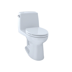 Toto® MS854114ELG#01 Eco UltraMax® One-Piece Toilet With Left-Hand Chrome Trip Lever, Elongated Bowl, 17-11/16 in H Rim, 1.28 gpf, Cotton, Domestic