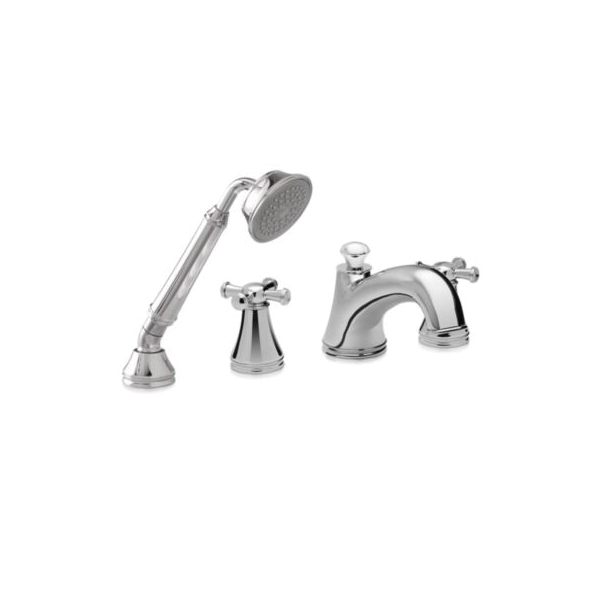 Toto® TB220S#CP Vivian® Roman Tub Filler Trim, 10 gpm, Polished Chrome, 2 Handles, Hand Shower Yes/No: Yes, Residential