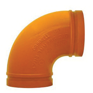 Grinnell Fire 21040S No 210 90 deg Pipe Elbow, 4 in, Grooved, Ductile Iron, Non-Lead Paint