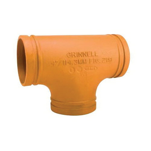 Grinnell Fire 21960S No 219 Pipe Tee, 6 in, Grooved, Ductile Iron, Non-Lead Paint