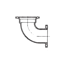 TYLER UNION® 422297 Compact 90 deg Bend, 4 in, Mechanical Joint x Flange, Ductile Iron, Cement Lined, Domestic