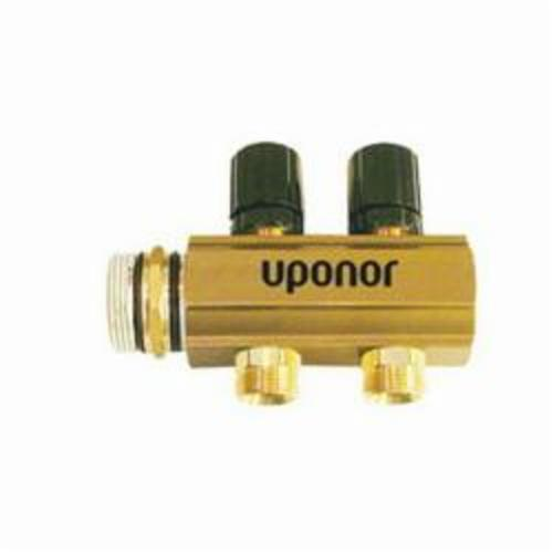 Uponor TruFLOW™ A2610100 Manifold Extension Kit, 1-1/2 in Manifold Body Size 1.9 Loop Cv, 145 psi Max Working Pressure, 220 deg F Max Fluid Temperature 21 gpm Max Fluid Flow Rate, Brass