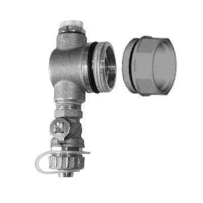 Uponor TruFLOW™ A2651250 Sr. Manifold End Cap With Drain and Vent Kit, 1-1/4 in, BSP Thread, 145 psi, 220 deg F, Brass