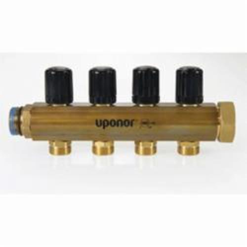 Uponor TruFLOW™ A2663223 Return Manifold With Isolation Valve, (3), Brass