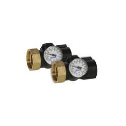 Uponor A2670032 Heating Manifold Connection Piece With R32 Union and Temperature Gauge, Reinforced Polymer, Domestic