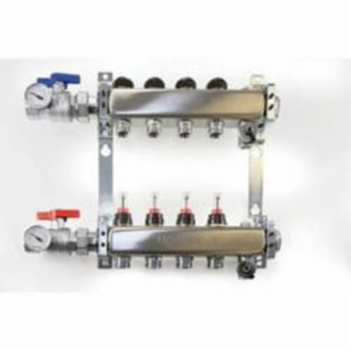 Uponor TruFLOW™ A2720602 Manifold Assembly With Flow Meter, (6) 1-1/4 in Outlets, Stainless Steel