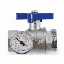 Uponor A2771251 Manifold Supply and Return Ball Valve, R32 x 1 in, Male, 145 psi, Stainless Steel Body