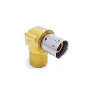 Uponor D4377575 Press Fitting Baseboard Elbow, 3/4 in, MLC Tube x C Adapter, Brass, Domestic