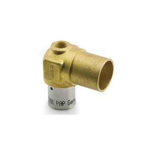 Uponor D4396375 Press Fitting Baseboard Tee, 5/8 x 3/4 in, MLC Tube x C Adapter, Brass, Domestic
