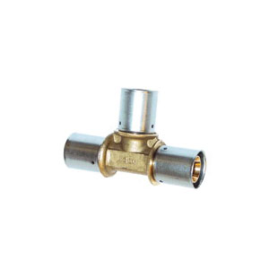 Uponor D4701150 Press Fitting Reducing Tee, 1 x 1 x 1/2 in, MLC Tube, Brass, Domestic