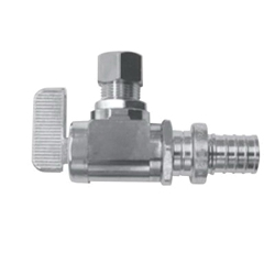 Uponor K4895038 Angle Stop Valve, 1/2 in, PEX, Brass Body