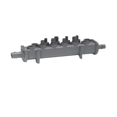 Uponor Q2240400 Flow-Through Valveless Manifold, 4 1/2 in Outlets 1 x 3/4 in Inlets, Ethylene Propylene