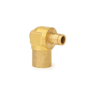 Uponor ProPEX® Q4377575 Baseboard Elbow, 3/4 in, PEX x C Adapter, Brass, Domestic