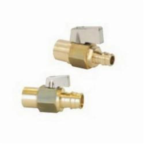 Uponor Q4805050 In-line Shutoff Lead-Free Ball Valve, 1/2 in, PEX x C Adapter, Brass