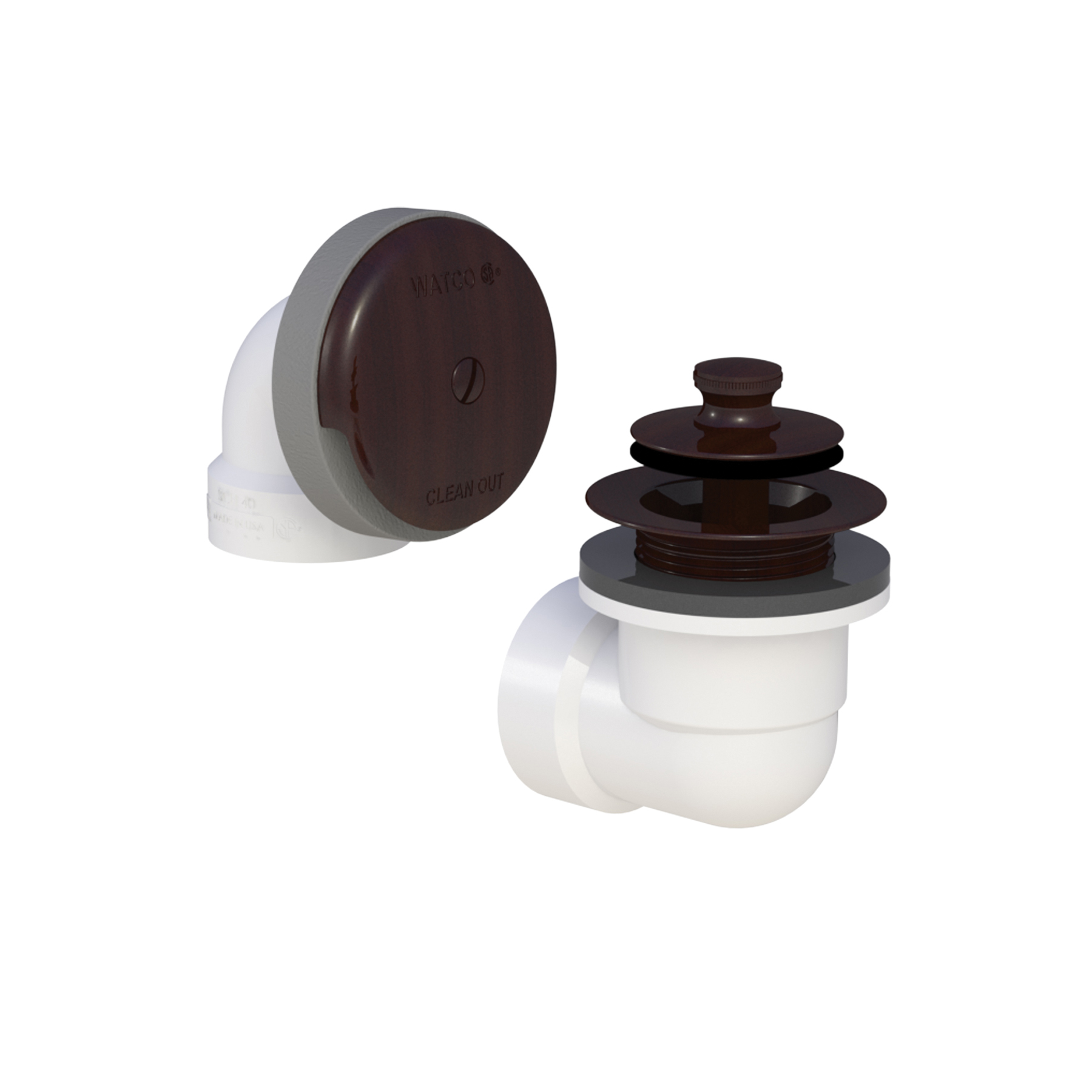 Watco® 601-PP-PVC-BZ Solvent Weld Bath Waste Half Kit, STD PVC, Oil Rubbed Bronze