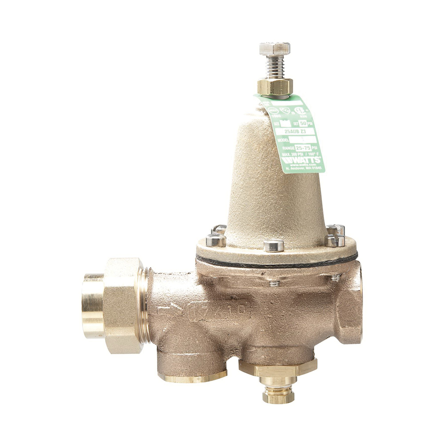 WATTS® 0009278 LF25AUB-Z3 Standard Pressure Reducing Valve, 3/4 in, FNPT, 25 to 75 psi, Copper Silicon Alloy Body