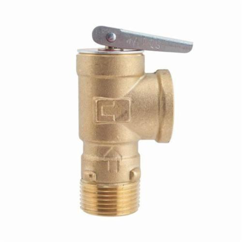 WATTS® 0011086 3L Series Pressure Relief Valve With Test Lever, 3/4 in, MNPT x FNPT, 75 psi, Brass Body