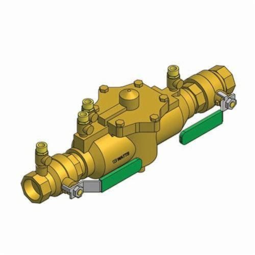 WATTS® 0062920 009 Reduced Pressure Zone Assembly, 1-1/4 in, NPT, Quarter-Turn Ball Valve, Bronze Body