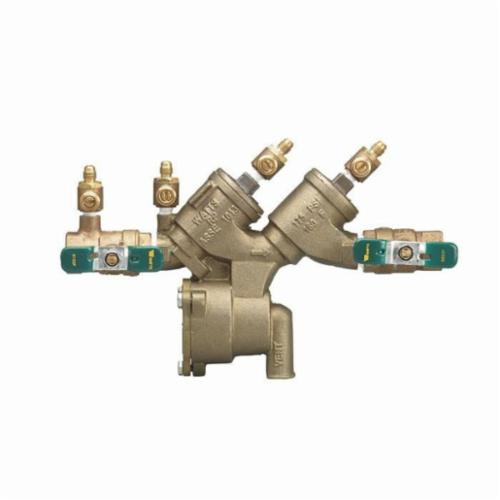WATTS® 0065376 LF919 Double Check Valve Assembly, 2 in, NPT, Quarter-Turn Resilient Seated Ball Valve, Cast Copper Silicon Alloy Body, Reduced Pressure Zone Backflow
