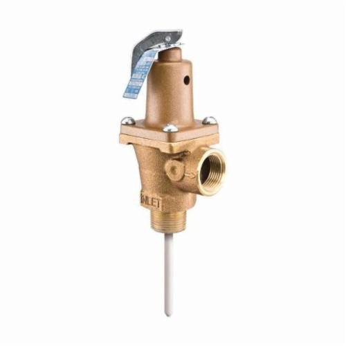 WATTS® 0121421 LF40XL Automatic Reseating Temperature and Pressure Relief Valve, 3/4 in, MNPT x FNPT, 150 psi, Brass Body