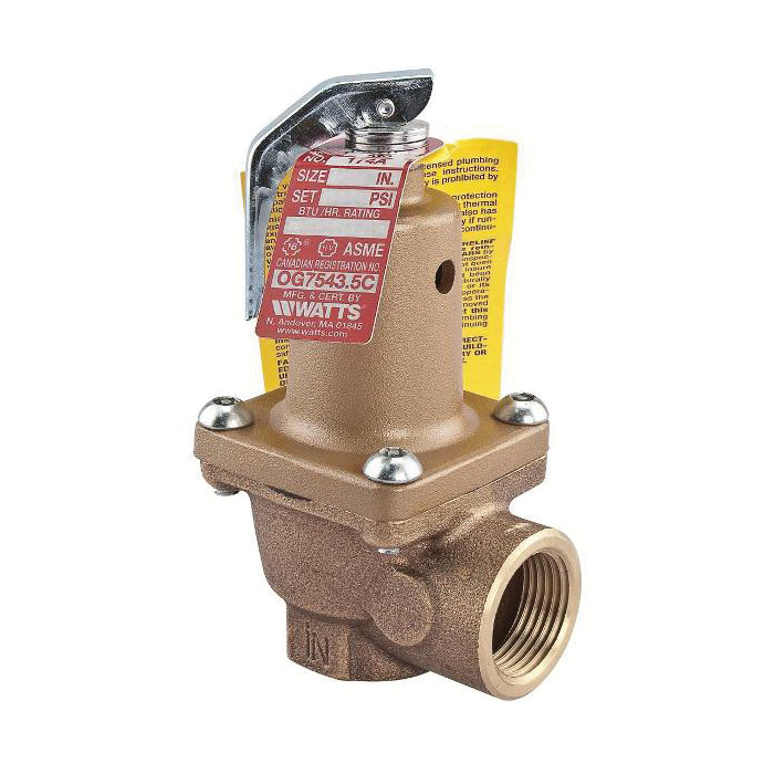 WATTS® 0121470 LF174A Pressure Relief Valve, 3/4 in, 75 psi, Cast Copper Silicon Alloy Body