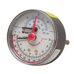 WATTS® 0121662 LFDPTG-3 Combination Pressure and Temperature Gauge, NPT
