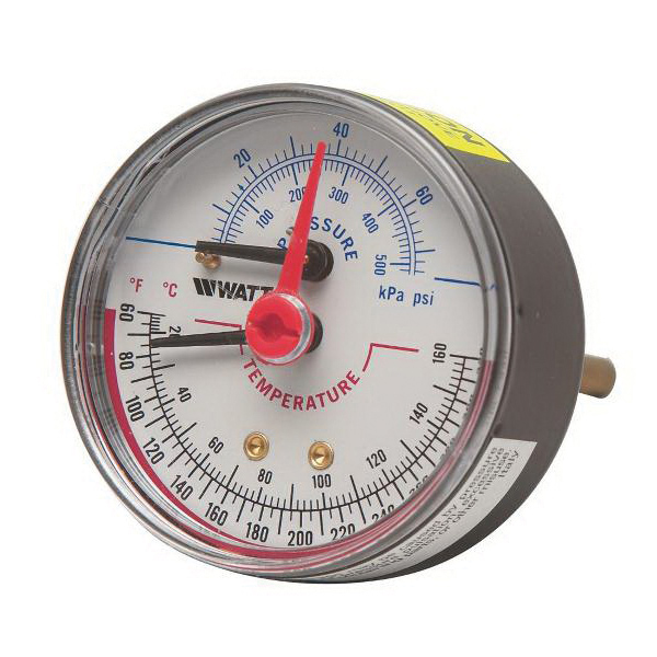 WATTS® 0121662 LFDPTG-3 Combination Pressure and Temperature Gauge, NPT