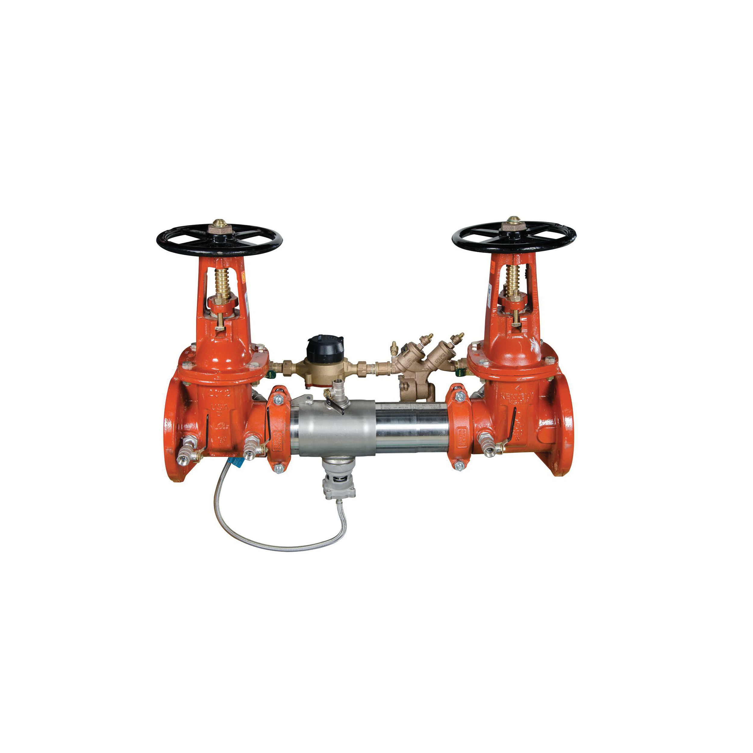 WATTS® 0122720 LF957RPDA Detector Assembly, 3 in, Flange, Resilient Seated Gate Valve, 304 Stainless Steel Body, Reduced Pressure Backflow, 150 lb