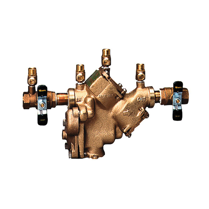 WATTS® 0792031 LF909 Reduced Pressure Zone Assembly, 3/4 in, FNPT, Quarter-Turn Ball Valve, Cast Copper Silicon Alloy Body