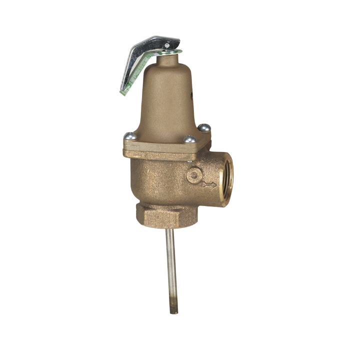 WATTS® 0254702 140S Automatic Reseating Temperature and Pressure Relief Valve, 3/4 in, MNPT x FNPT, 150 psi, Bronze Body