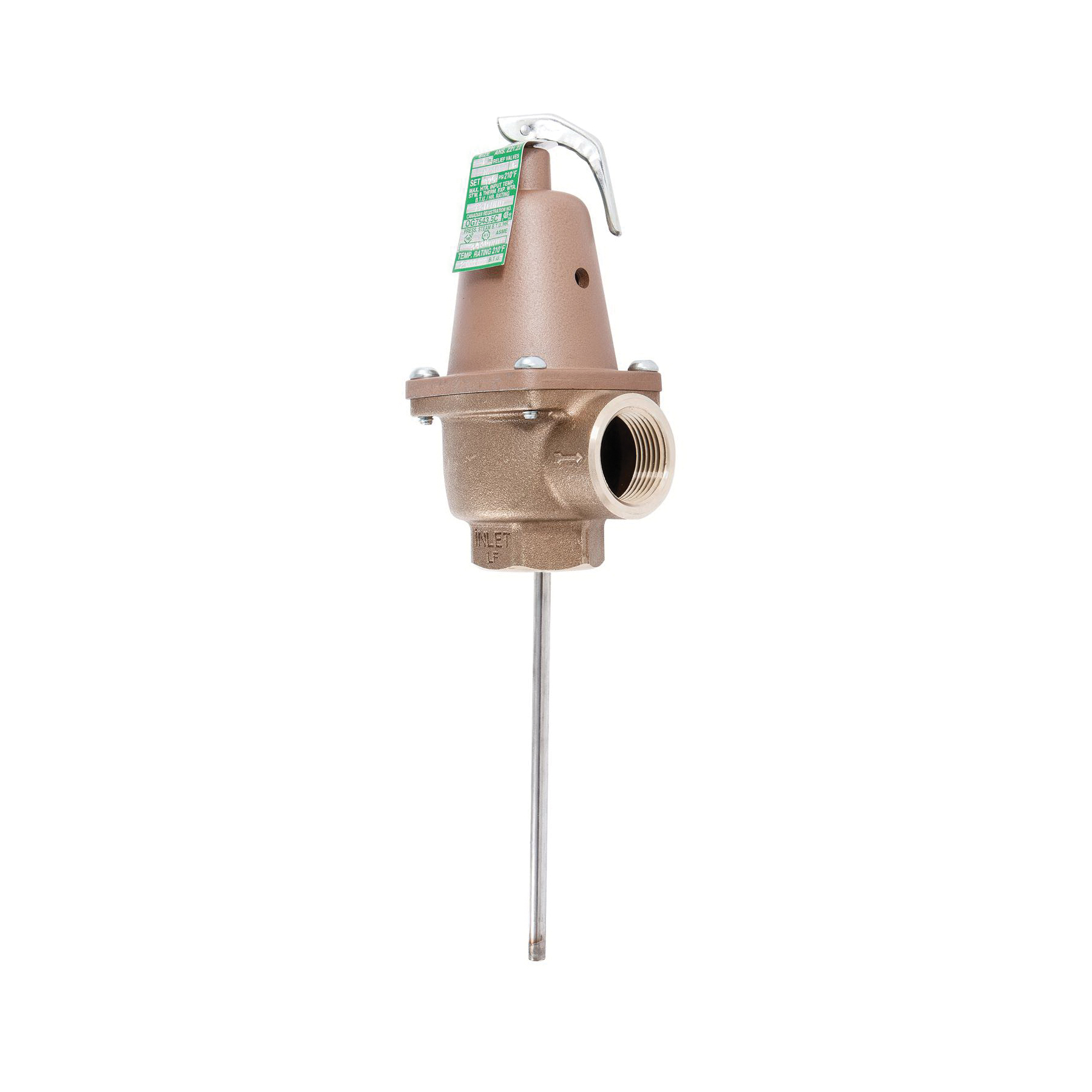 WATTS® 0556019 LFN240X Automatic Reseating Temperature and Pressure Relief Valve, 1 in, FNPT, 113 psi, Bronze Body