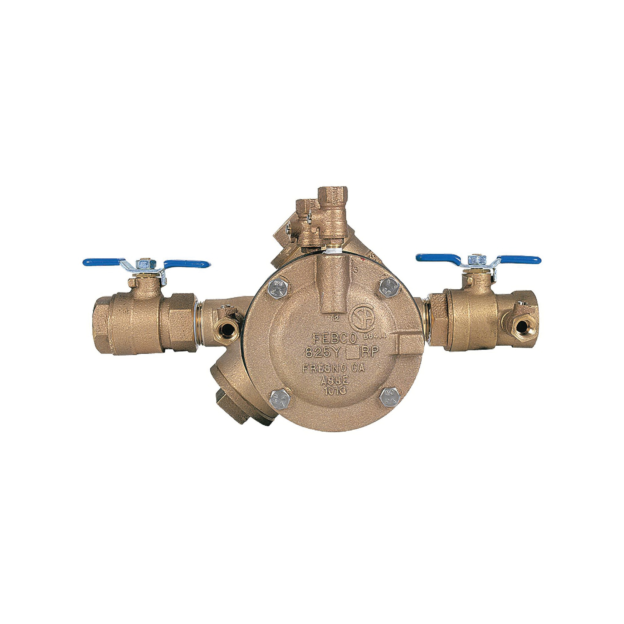 Febco® 0683006 LF825Y Y-Pattern Reduced Pressure Zone Assembly, 3/4 in, Thread, Quarter-Turn Ball Valve, Cast Copper Silicon Alloy Body