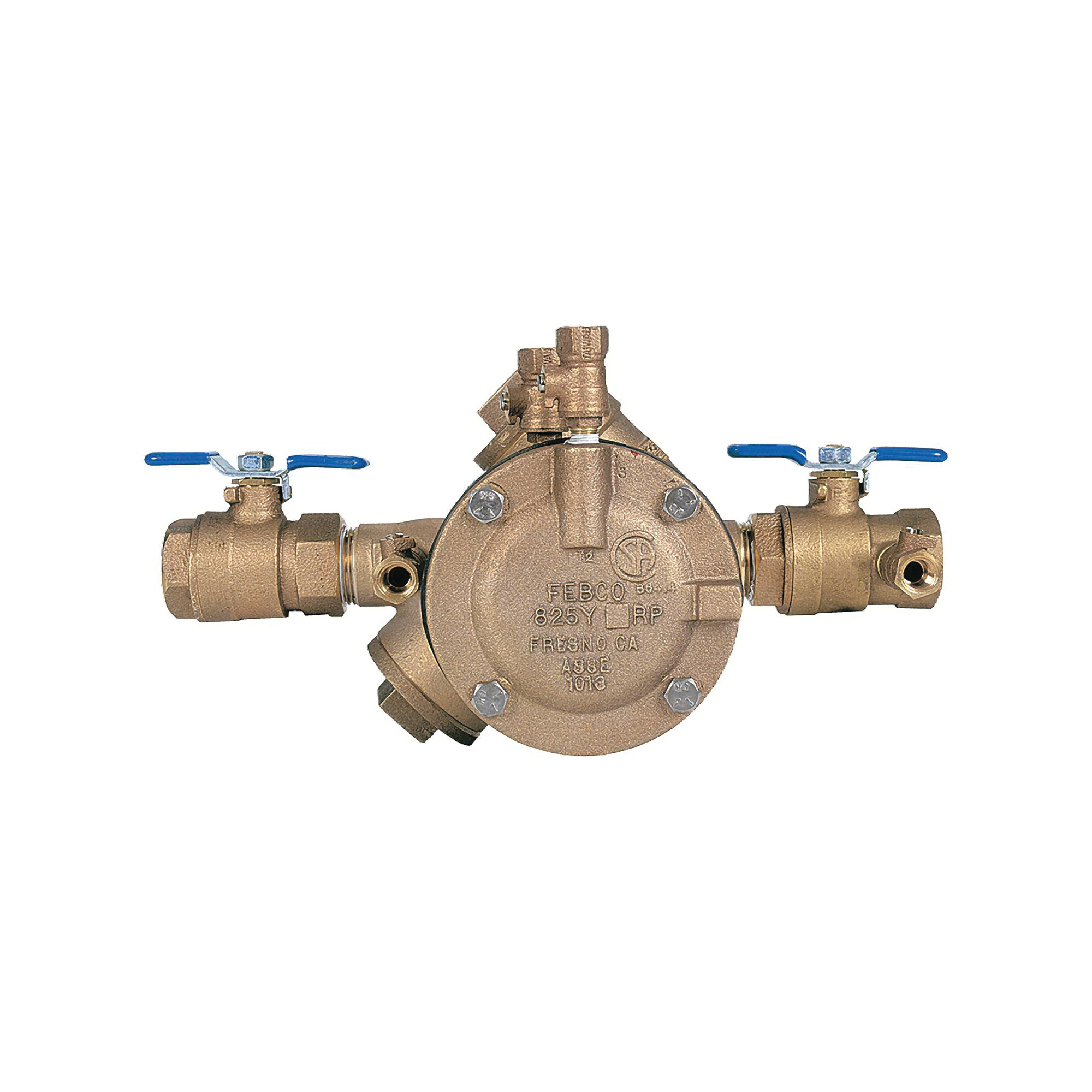 Febco® 0683009 LF825Y Y-Pattern Reduced Pressure Zone Assembly, 1-1/2 in, Thread, Quarter-Turn Ball Valve, Cast Copper Silicon Alloy Body