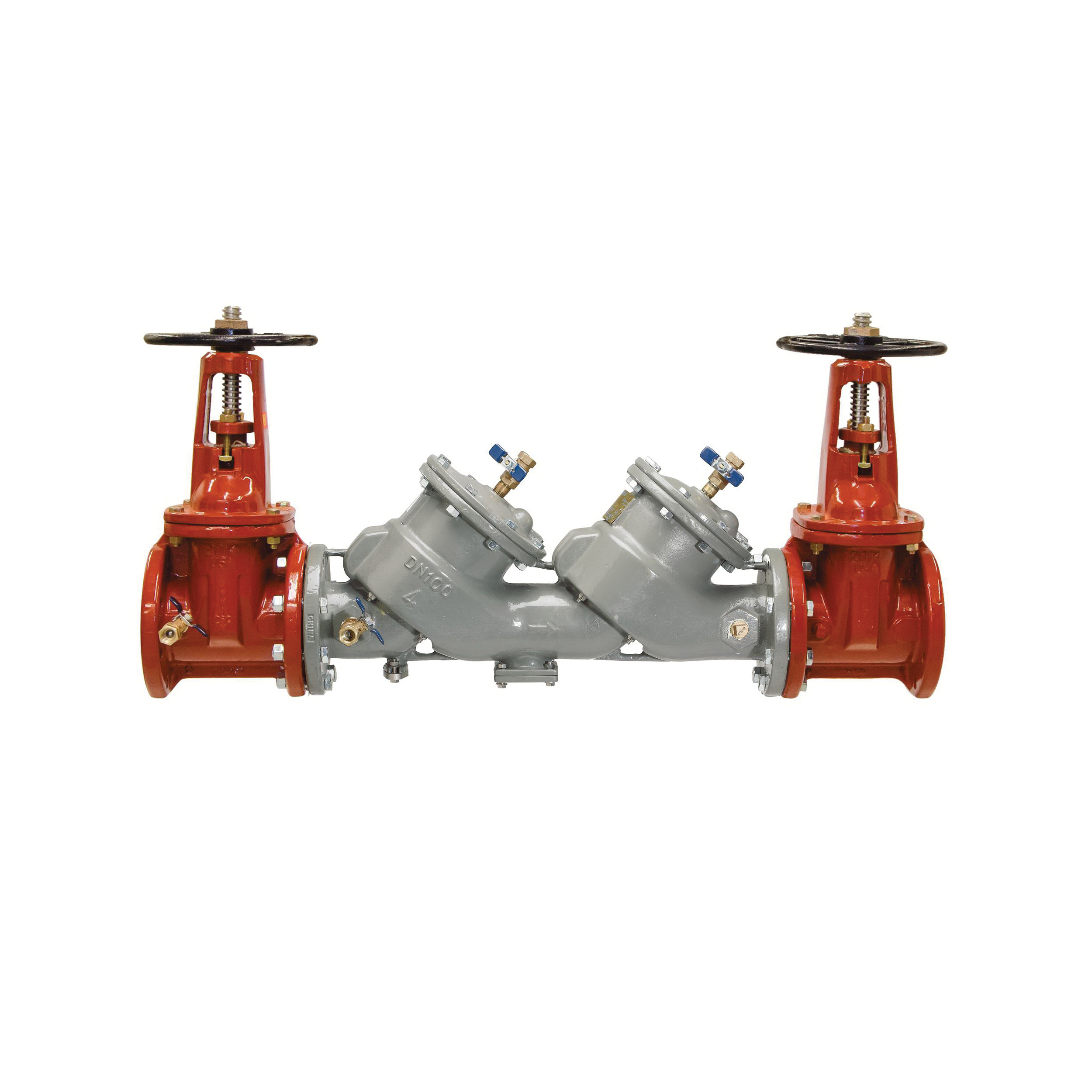 Febco® MasterSeries® 0683076 LF850 In-Line Large Diameter Double Check Valve Assembly, 4 in, Flange, Resilient Wedge Gate Valve, Ductile Iron Body