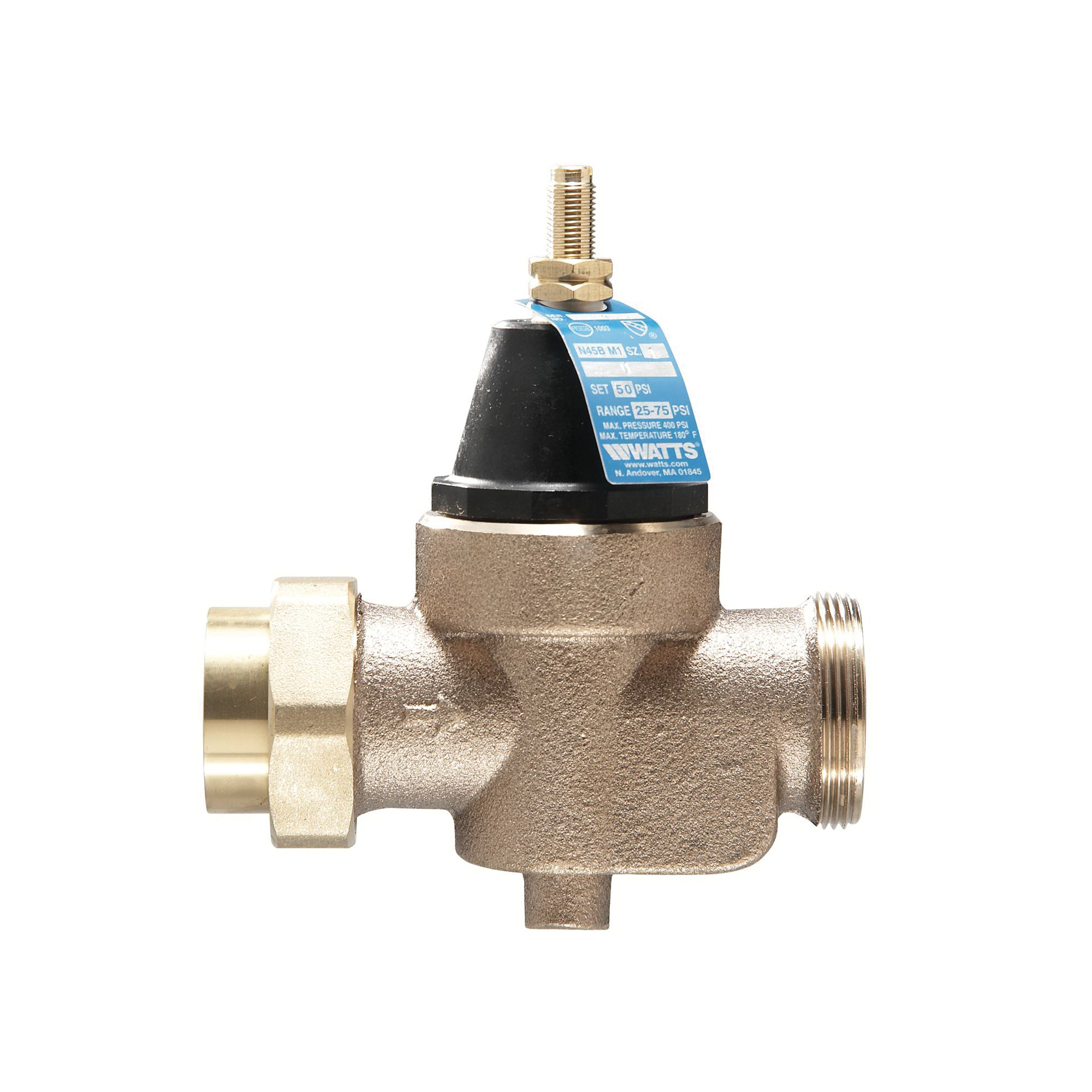 WATTS® 0009471 LFN45B-M1 Standard Capacity Pressure Reducing Valve, 1/2 in, NPT Union Inlet x FNPT Outlet, 400 psi Working, Copper Silicon Alloy Body
