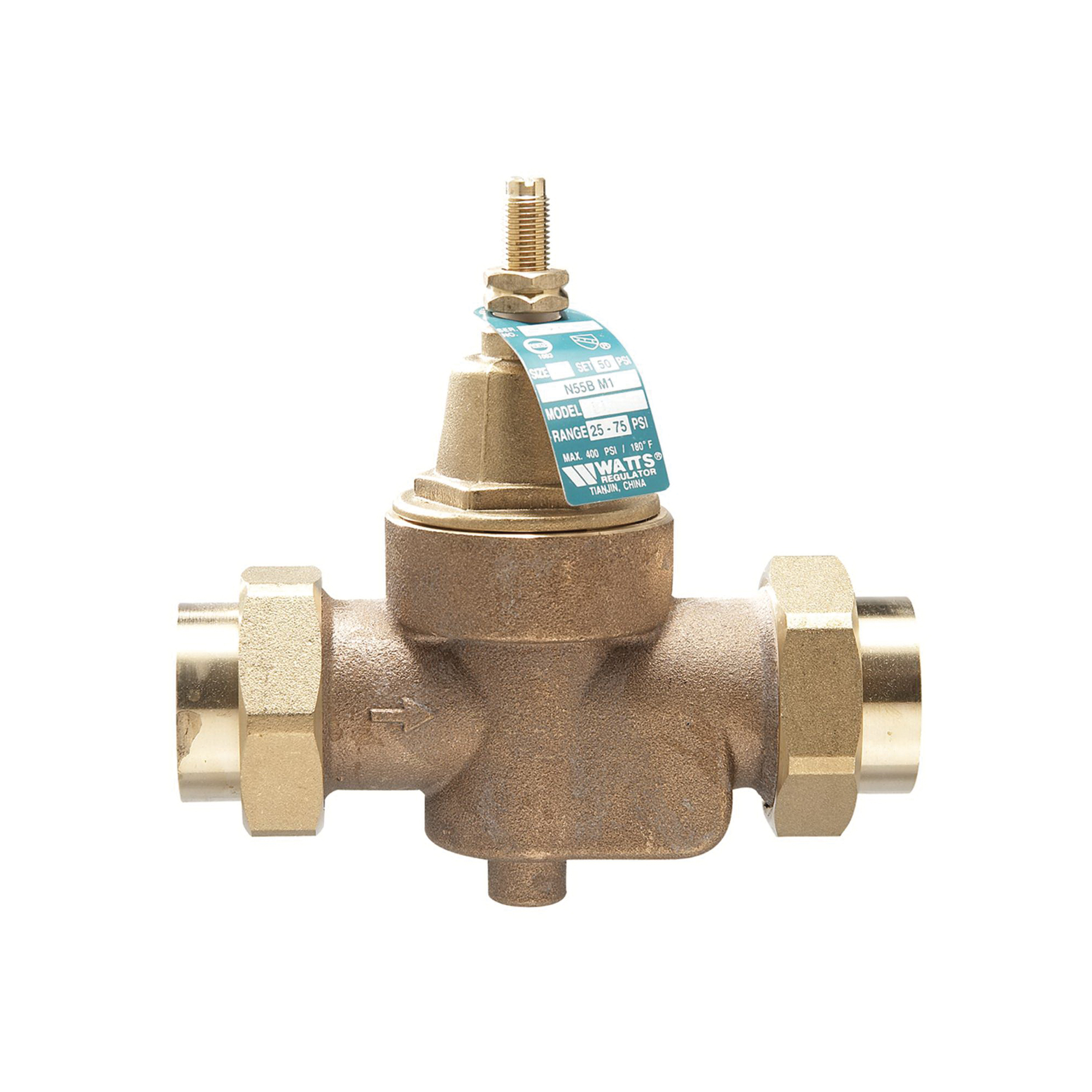 WATTS® LFN55B-M1 Lead Free Pressure Reducing Valve, 3/4 in, FNPT, 400 psi Working, Brass