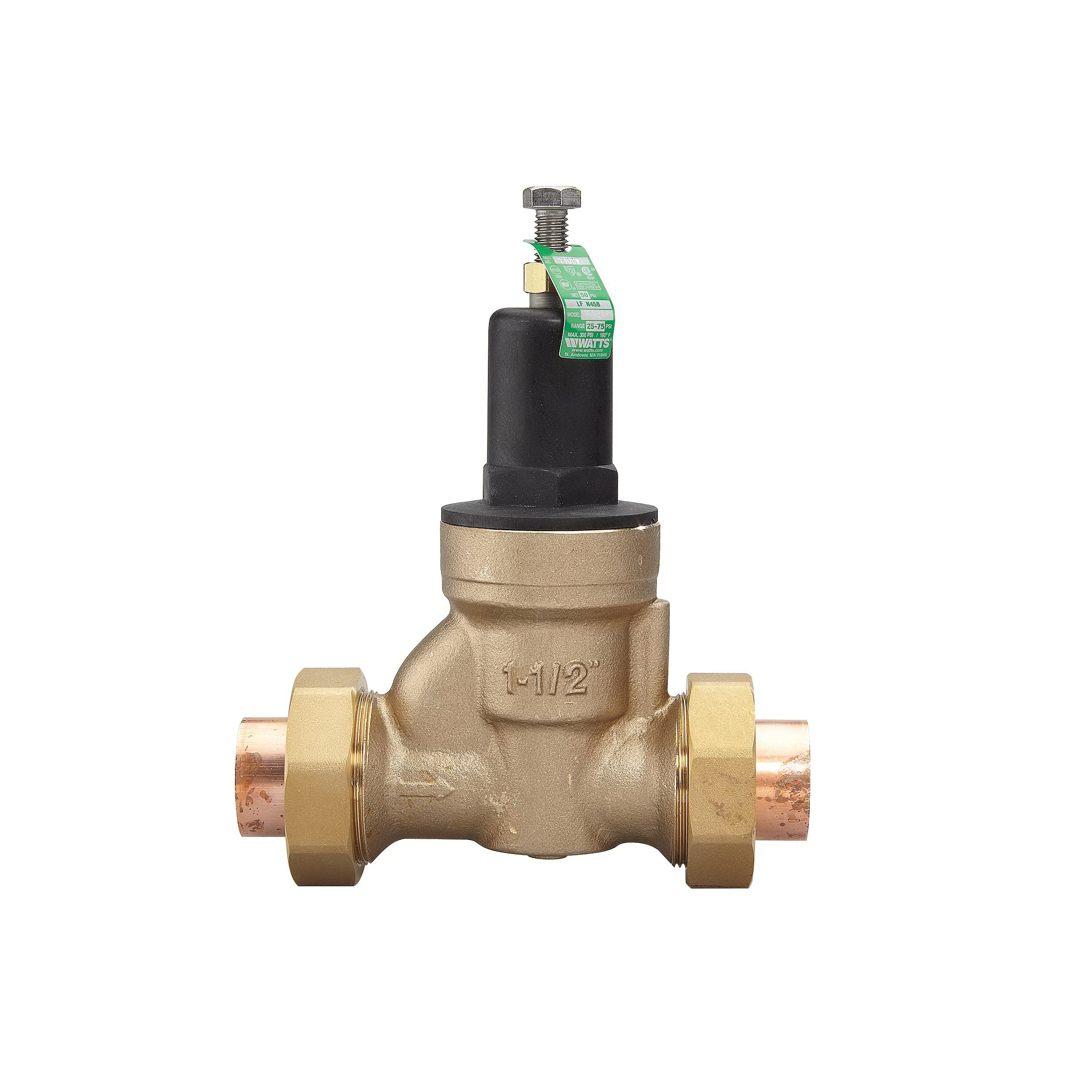 WATTS® LFN45B Lead Free Pressure Reducing Valve, 1-1/4 in, Double Solder Union Inlet x Solder Union Outlet