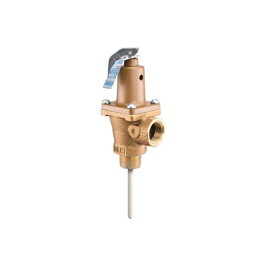 WATTS® 0121415 LF40XL Automatic Re-Seating Temperature and Pressure Relief Valve, 3/4 in, MNPT x FNPT